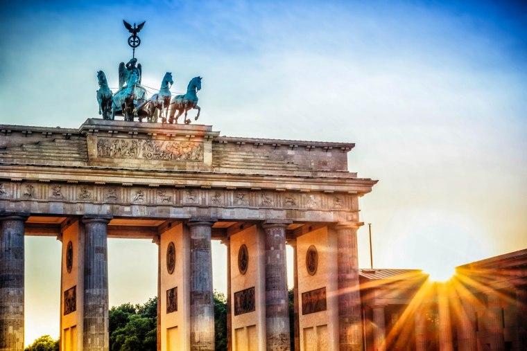 Brandenburger Tor with Quadriga in Berlin at sunset
